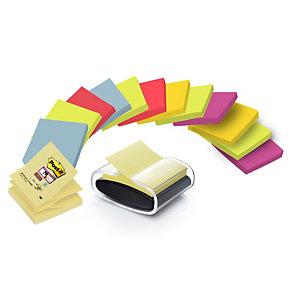 Post-it® Kit completo PRO-B Dispenser da scrivania per foglietti adesivi Z-Notes con foglietti riposizionabili Z-Notes, Blocchi 76 x 76 mm, Colori assortiti, Confezione da 14 pezzi