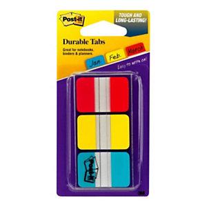 Post-it® Marcadores rígidos pequeños de 25,4x38mm en colores variados Paquete de 3x22 con estuche dispensador