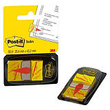 Post-it® Marcapáginas medianos con indicación de firma de 25,4 x 43,2 mm en amarillo Paquete de 50 con dispensador 680-31