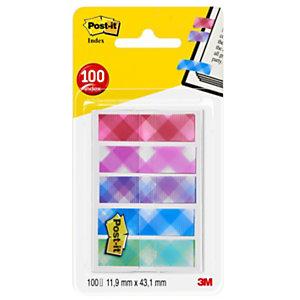 Post-it® Marcapáginas minitiras adhesivas, 11,9 x 43,2mm, colección de colores Gingham, paquete de 100