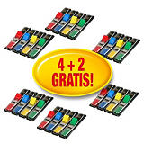Post-it® Marcapáginas pequeños 11,9 x 43,1 mm en colores variados, pack de 16 x 35 con dispensadores y 8 x 35 gratuitos 683-4 + 2