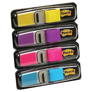 Post-it® Marcapáginas pequeños de 11,9 x 43,1 mm en colores variados Paquete de 4 x 35 con dispensadores 683-4AB