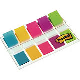 Post-it® Marcapáginas pequeños de 11,9 x 43,1 mm en colores variados Paquete de 5 x 20 con dispensador