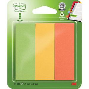 Post-it® Marcapáginas reciclados, 25 x 76mm, colores variados, paquetes de 300