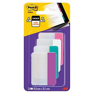 Post-it® Marque-pages rigides 50,8 x 38 mm - 4 couleurs assorties (Rose, Blanc, Bleu, Violet) - 4 x 6 index