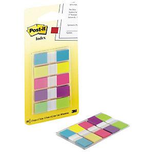 Post-it® Marque-pages souples 11,9 x 43,1 mm - 5 couleurs assorties (Bleu, Jaune, Rose, Violet, Anis) - 5 x 20 index