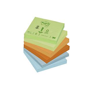 Post-it® Notas Adhesivas Recicladas Bloques 76 x 76 mm, Colores Surtidos Pastel, 100 hojas
