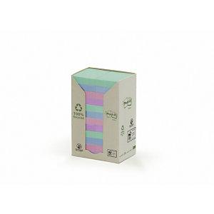 Post-it® Notas adhesivas recicladas en torre, bloques 38 x 51mm, colección de colores variados Pastel Rainbow, 100 hojas