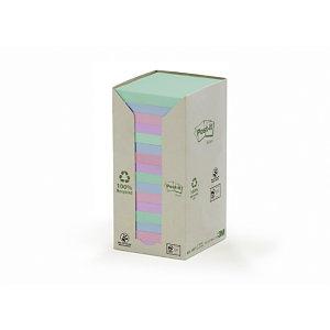Post-it® Notas adhesivas recicladas en torre, bloques 76 x 76mm, colección de colores variados Pastel Rainbow, 100 hojas