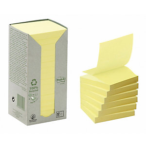 Post-it® Notas adhesivas Z-Notes recicladas en torre, bloques 76 x 76 mm, amarillo, 100 notas
