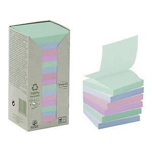 Post-it® Notas adhesivas Z-Notes recicladas en torre, bloques 76 x 76 mm, colección de colores variados Pastel Rainbow, 100 hojas