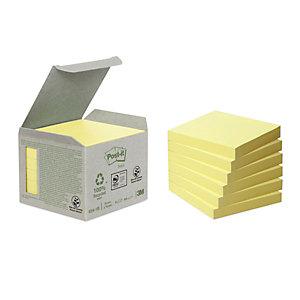 Post-it® Notes adhésives en mini tour, 100feuilles, papier recyclé, jaune, 76x76 mm