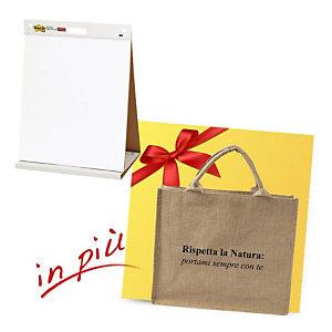 Post-it® Offerta 2 Blocchi adesivi da tavolo Meeting Charts, Carta riciclata, 58,4 x 50,8 cm + 1 borsa shopper compresa nel prezzo