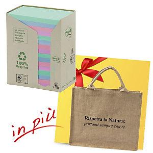 Post-it® Offerta 32 blocchi foglietti riposizionabili carta riciclata formato 76 x 127 mm colori Natural + 1 borsa shopper compresa nel prezzo