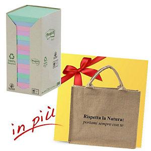 Post-it® Offerta 32 blocchi foglietti riposizionabili carta riciclata formato 76 x 76 mm colori Natural + 1 borsa shopper compresa nel prezzo