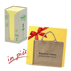 Post-it® Offerta 32 blocchi foglietti riposizionabili carta riciclata formato 76 x 76 mm giallo + 1 borsa shopper compresa nel prezzo