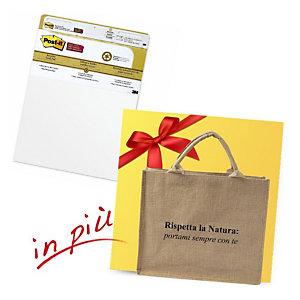 Post-it® Offerta 4 blocchi adesivi Meeting Charts, Carta riciclata, 63,5 x 77,5 cm + 1 borsa shopper compresa nel prezzo