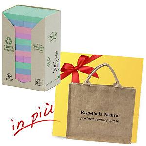 Post-it® Offerta 48 blocchi foglietti riposizionabili carta riciclata formato 38 x 51 mm colori Natural + 1 borsa shopper compresa nel prezzo