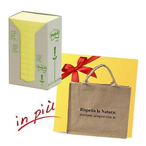 Post-it® Offerta 48 blocchi foglietti riposizionabili carta riciclata formato 38 x 51 mm giallo + 1 borsa shopper compresa nel prezzo