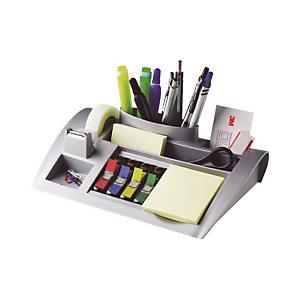 Post-it® Organisateur de bureau C50 avec ruban adhésif transparent Magic™ 19mmx33m, petits marque-pages couleurs assorties et notes adhésives Jaune Canari™