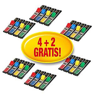 Post-it® Pack Ahorro 4 + 2 GRATIS, Lotes de 4 dispensadores de 35 marcapáginas de 11,9 x 43,1 mm en colores surtidos