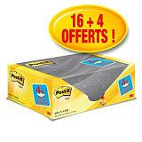 Post-it® Pack Avantage de 20 Blocs de notes adhésives Classiques - 76 x 127 mm - Couleur : Jaune