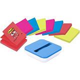 Post-it® Pack Dispensador VAL + 8 blocs Super Sticky Notas Adhesivas Z-Notes R330 colores Bora Bora y Bangkok