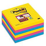 POST-IT® POST-IT Lot de 6 blocs 90 feuilles Super Sticky RIO lignées 101x101mm, jaune néon, fuchsia, méditerranée