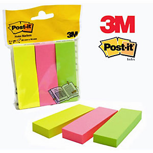 Post-it® Segnapagina Index formato medio 25 x 76 mm in colori neon assortiti, 3 confezioni da 100 671-3