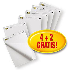 Post-it® Super Sticky 559VP Pack Ahorro 4 + 2 GRATIS Bloc para caballete de rotafolios, 63 x 73,2 cm, 30 hojas, blanco