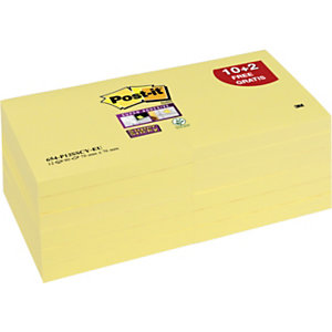 Post-it® Super Sticky 654-12SSCY Canary Yellow™ Notas Adhesivas Bloques 76 x 76 mm, amarillo canario, 12 Bloques, 90 hojas