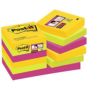 Post-it® Super Sticky Bloc de notas 47,6 x 47,6mm, Colección Río de Janeiro, 90 hojas