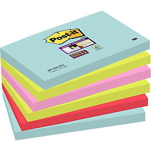 Post-it® Super Sticky Bloc de notas, 76 x 127 mm, Colección Miami, 90 hojas