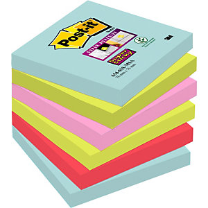 Post-it® Super Sticky Bloc de notas, 76 x 76 mm, Colección Miami, 90 hojas
