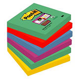 Post-it® Super Sticky Bloc de notas, 76 x 76 mm, colores surtidos, 90 hojas
