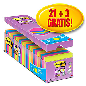 Post-it® Super Sticky Bloc de notas, 76 x 76mm, colores variados, 90 hojas