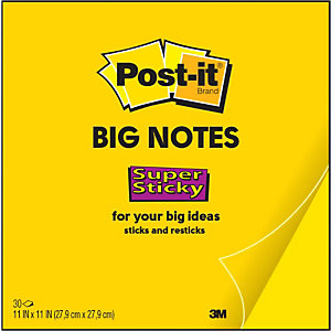 Post-it® Super Sticky BN11-EU Notas grandes, 27,9 x 27,9 cm, 30 hojas, amarillo neón