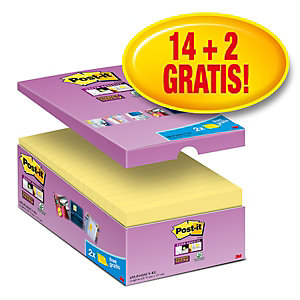 Post-it® Super Sticky Canary Yellow™ Notas Adhesivas Bloques 76 x 127 mm, amarillo canario, 90 hojas