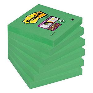 Post-it® Super Sticky Foglietti adesivi, Blocchi 76 x 76 mm, Verde asparago, 90 foglietti (confezione 6 pezzi)