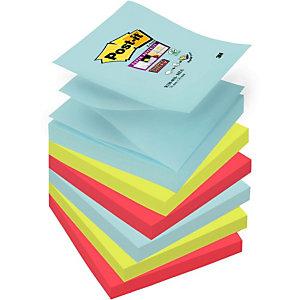 Post-it® Super Sticky Foglietti per dispenser, Blocco, 76 x 76 mm, Collezione colori Miami, 90 foglietti