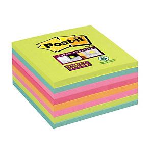 Post-it® Super Sticky, Foglietti Riposizionabili, Blocchi 76 x 76 mm, Colori Assortiti Collezione Arcobaleno, 45 foglietti, Confezione 8 pezzi