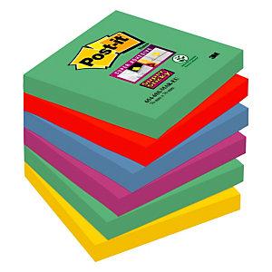 Post-it® Super Sticky, Foglietti Riposizionabili, Blocchi 76 x 76 mm, Colori Assortiti Collezione Marrakesh, 90 foglietti, Confezione da 6 pezzi (confezione 6 pezzi)