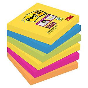 Post-it® Super Sticky, Foglietti Riposizionabili, Blocchi 76 x 76 mm, Colori Assortiti Collezione Rio de Janeiro, 90 foglietti, Confezione da 6 pezzi (confezione 6 pezzi)