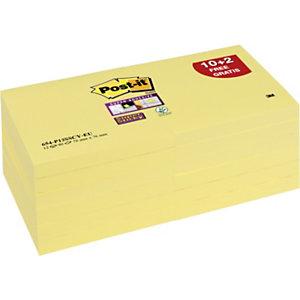 Post-it® Super Sticky Foglietti riposizionabili, Blocchi 76 x 76 mm, Giallo Canary, 90 foglietti, (confezione 12 pezzi)