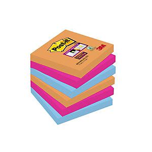 Post-it® Super Sticky, Foglietti Riposizionabili, Blocchi a Righe 76 x 76 mm, Colori Assortiti Collezione Bangkok, 90 foglietti, Confezione da 6 pezzi (confezione 6 pezzi)