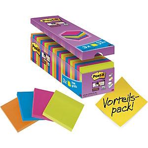Post-it® Super Sticky Foglietti riposizionabili, Blocco 76 x 76 mm, Colori neon assortiti, 90 foglietti, Value pack 21+3 compresi nel prezzo