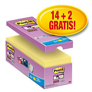 Post-it® Super Sticky Foglietti riposizionabili, Blocco 76 x 76 mm, Giallo Canary, 90 foglietti, Value pack 14+2 compresi nel prezzo