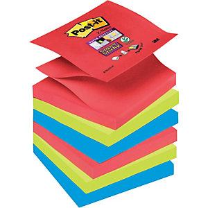 Post-it® Super Sticky, Foglietti Z-Notes per Dispenser, Blocchi 76 x 76 mm, Colori Assortiti Collezione Bora Bora, 90 foglietti, Confezione da 6 pezzi