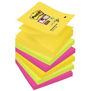 Post-it® Super Sticky, Foglietti Z-Notes per dispenser, Blocco 76 x 76 mm, Colori Assortiti Collezione Rio de Janeiro, 90 foglietti, Confezione da 6 pezzi