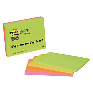 Post-it® Super Sticky Meeting Notas Adhesivas Bloque 98 x 149 mm, Colores Surtidos, 45 hojas